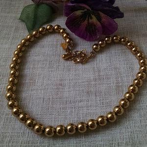 "Vintage Monet Signed Gold Beaded Necklace 16"""